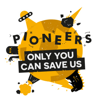 Pioneers logo for the Only you can save us challenge