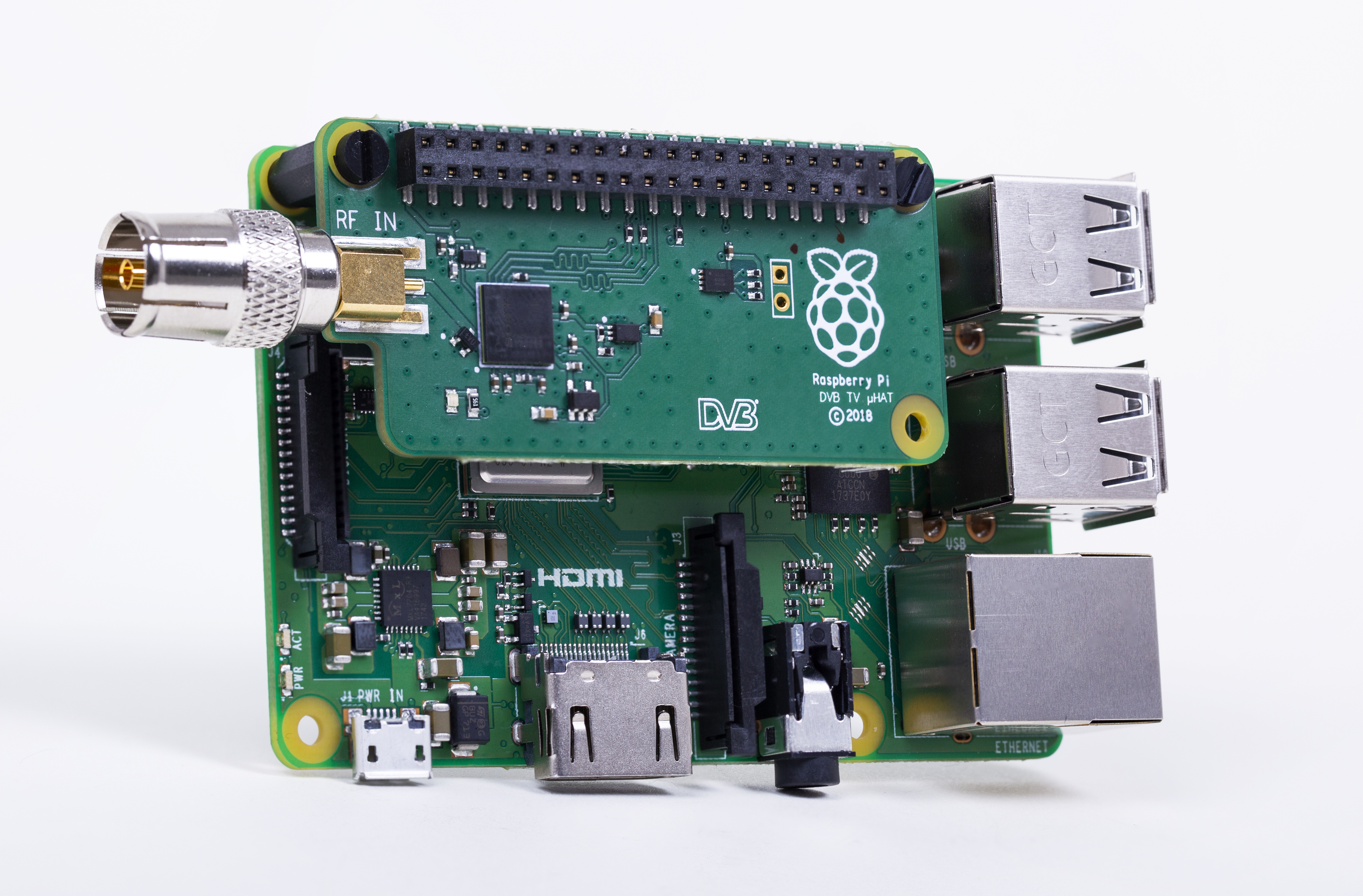 A photograph of a Raspberry Pi 3 Model B+ with TV HAT connected Oct 2018