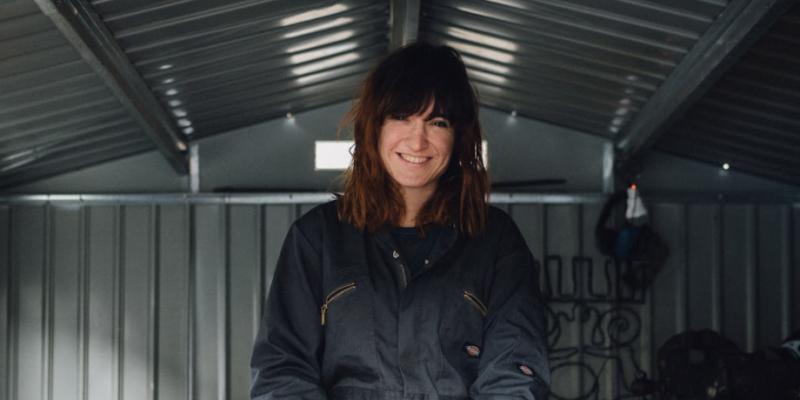 Agnes Jones, at work in her studio in Glasgow